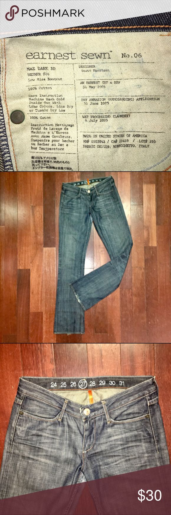 """EARNEST SEWN MAZ DARK 3D WOMENS DISTRESSED JEANS EARNEST SEWN MAZ DARK 3D WOMENS DISTRESSED JEANS. SIZE IS 27 in Excellent Used Condition with only minor wear on the back ankle hem. No other flaws to note!   MEASUREMENTS: SIZE 27, WAIST 32"""", RISE 8"""". INSEAM 35"""" LEG OPENING 8.75"""" ACROSS. 98% COTTON 2% ELASTANE. MADE IN THE U.S.A.  RETAIL PRICE IS $190. Earnest Sewn Jeans Boot Cut"""