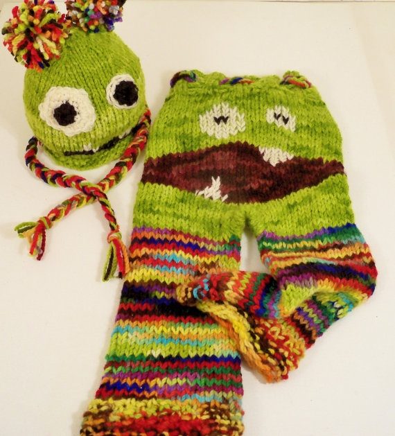 Monster Zombie Pants Hat Set Baby Longies Wool Knit Hand ...