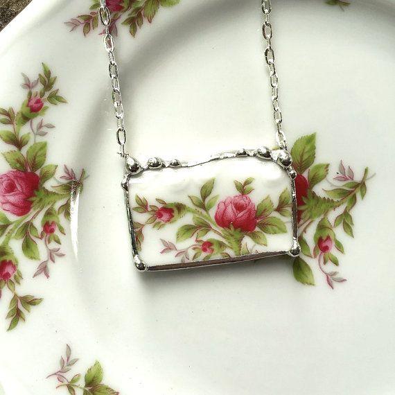 Broken china jewelry pendant necklace antique Haviland moss rose porcelain pink roses rosebuds