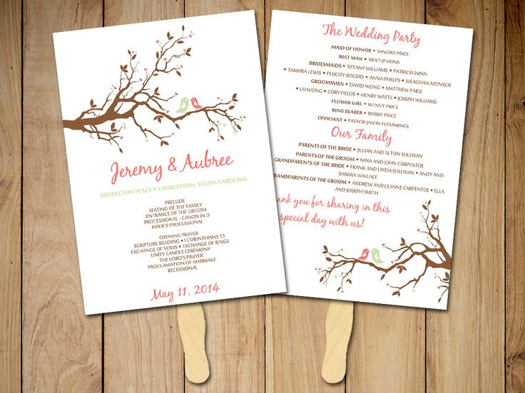 DIY Wedding Program Fan Template Love Bird Branch Ceremony