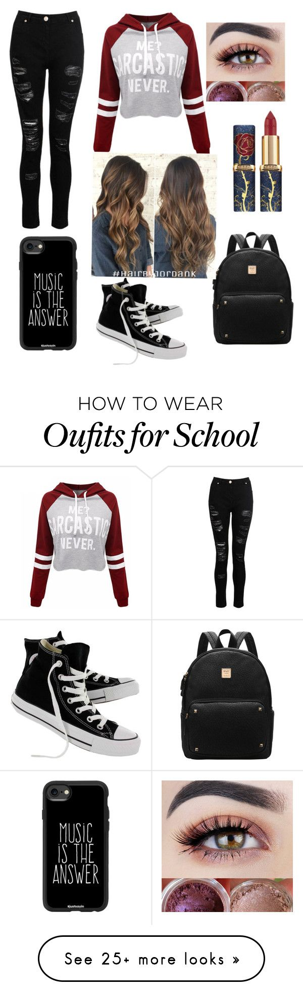 """School day"" by riveramiranda on Polyvore featuring WithChic, Converse and Casetify"