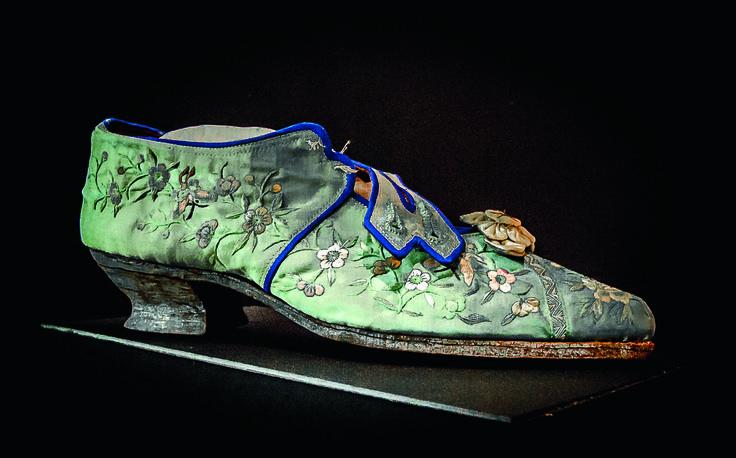 Melbourne's Chinese Museum RoyalAuto February, 2016. arly 20thC pale blue silk slipper. Photo: Anne Morley. #Chinatown #ChineseNewYear #MelbourneChineseMuseum #Silk #Slipper #SilkSlipper #Shoe
