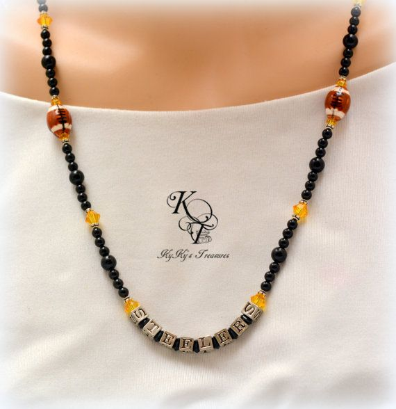 Pittsburgh Steelers, Steelers Necklace, Football Jewelry, Football Necklace, Sports Jewelry, Steelers Gift Idea, Steelers Gift, Gift for Her #pittsburghsteelers #footballjewelry #steelersnecklace