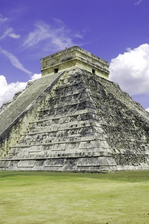 Kukulcan Pyramid at Chichen-itza, Mexico. This is the largest monument at this Mayan location. Various other buildings had also been constructed in the vicinity.