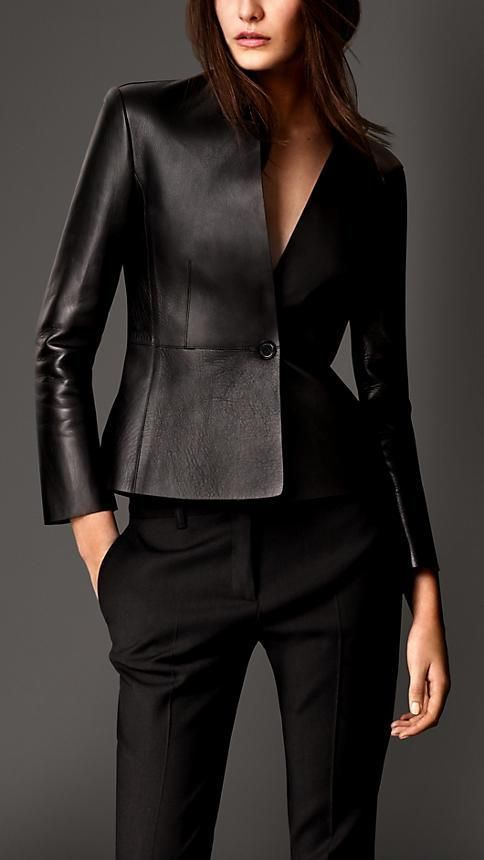 Burberry London Bonded Nappa Leather Tailored Jacket