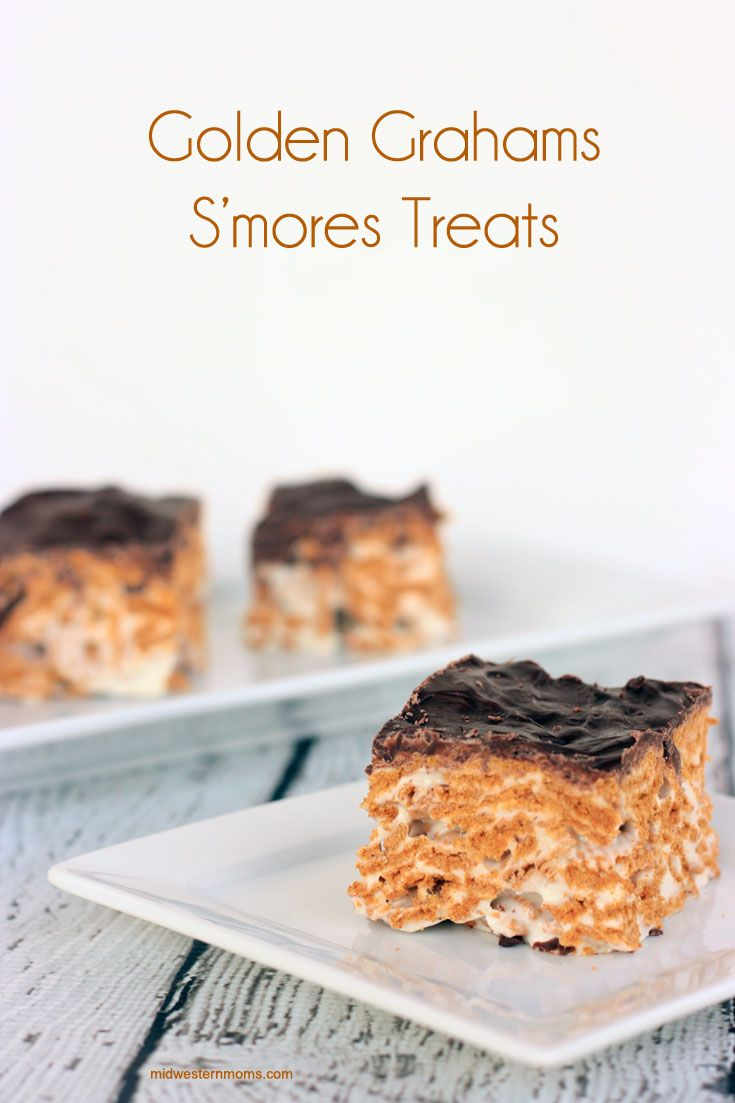 Golden Grahams S'more Treat Recipe. Similar to Rice Krispie Treats, these treats use Golden Grahams to replace the graham crackers. Plus they are topped with dark chocolate. These S'mores are perfect for when you can't have a campfire.