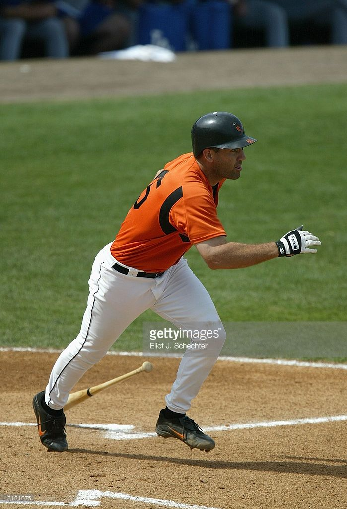 Catcher Bill Haselman #45 of the of the Baltimore Orioles runs to first against the Los Angeles Dodgers during Spring Training on March 8, 2004 at Fort Lauderdale Stadium in Fort Lauderdale, Florida. The Orioles won 14-5.