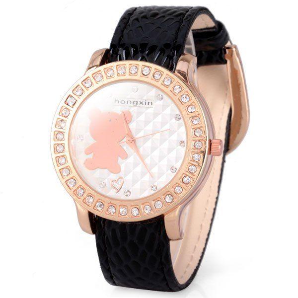 Hermoso reloj estilo vintage con detalle osito rosado y cristales.