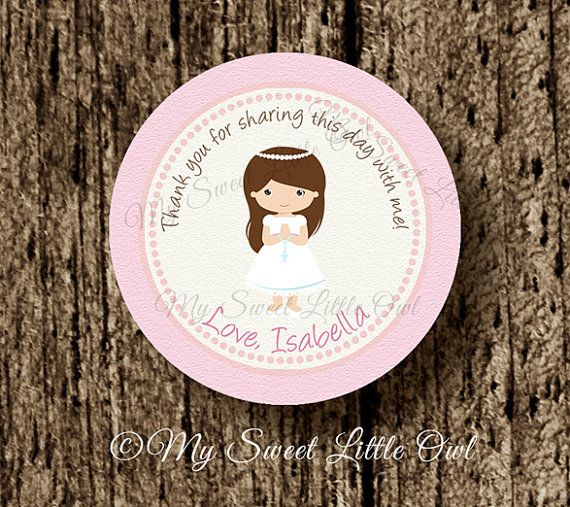 First communion label -  First communion sticker - first communion Cupcake Topper -  first communion tag _choose complexion & hair color