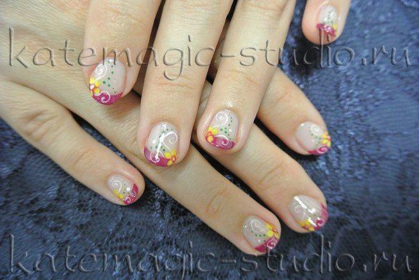 Маникюр, нейл-арт, дизайн ногтей, рисунок на ногтях, shellac, шеллак, цветной фрэнч, французский маникюр. Студия KateMagic