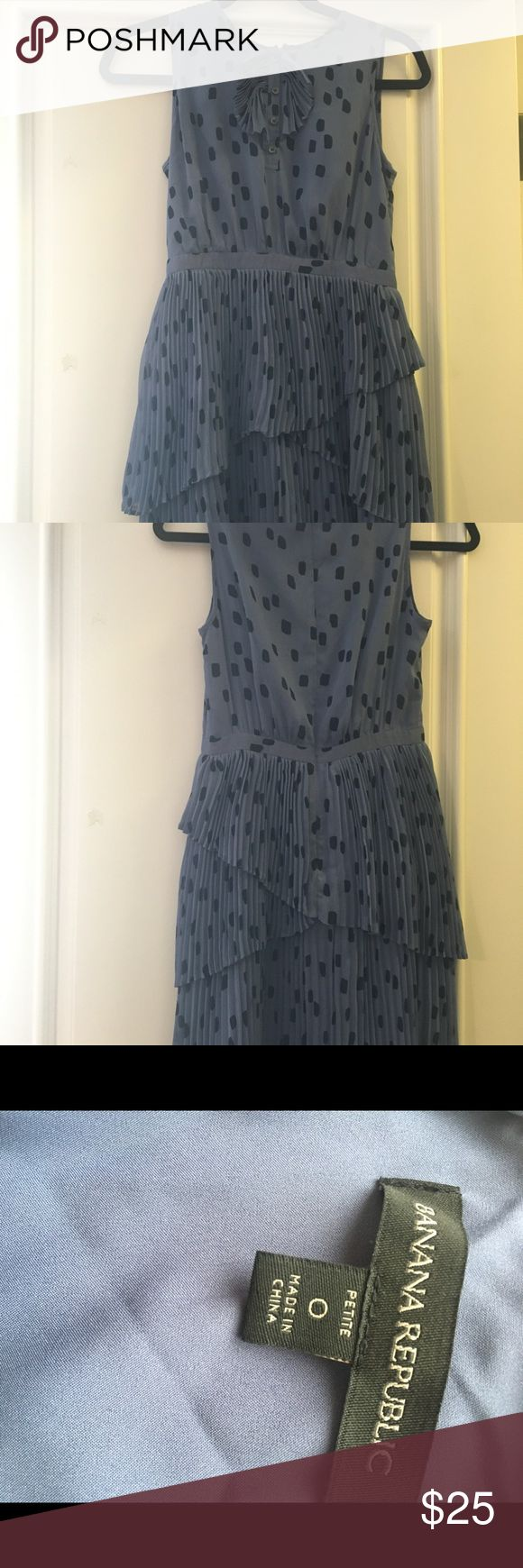Banana Republic petite dress Blue polka dot dress with pretty pleated details. Gently worn. Tag says dry clean but dress has been washed successfully on gentle cycle/cold water Banana Republic Dresses