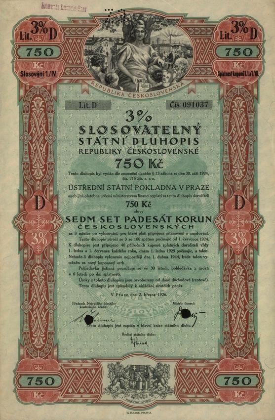 Slosovatelný státní dluhopis republiky Československé (3% verlosbare Staatsschuldverschreibung der Čechoslovakischen Republik, 3% sorsolási csehszlovák köztársasági államkölcsönkötvény) na 750 Kč. Praha, 1926.  tzv. odškodňovací dluhopis za válečné půjčky.