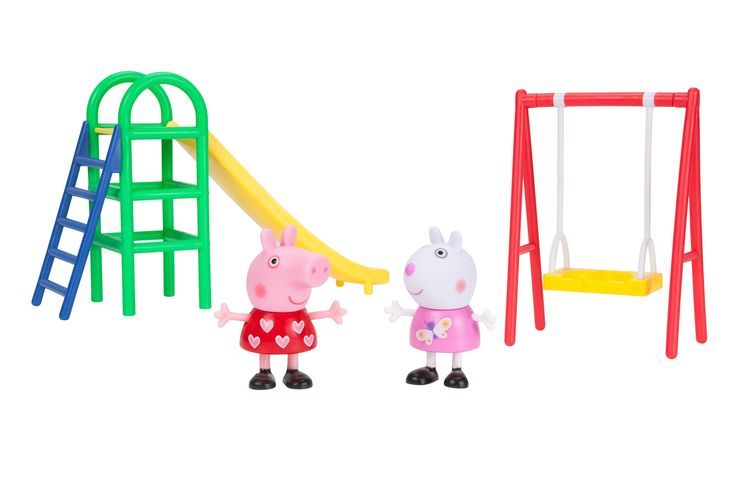 Peppa Pig Playground Fun Peppa Playtime Set. Includes exclusive peppa pig and suzy sheep figures, swing and slide. Both the slide and the swing are perfectly scaled for peppa pig's deluxe house. Take turns pushing Peppa or Suzy on the swing, or help them climb the ladder to the slide. Dimensions: 6.54 inches H x 8.5 inches W x 3.78 inches L. Collect the whole set and play with all of peppa's friends!.