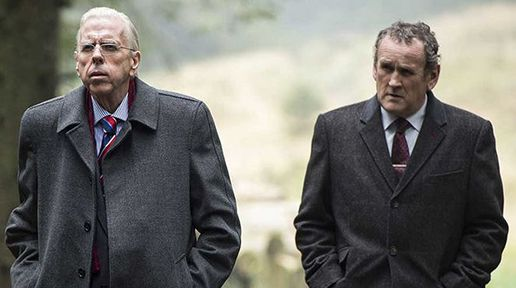"Colm Meaney (right) as Martin McGuinness is upcoming film ""The Journey."""