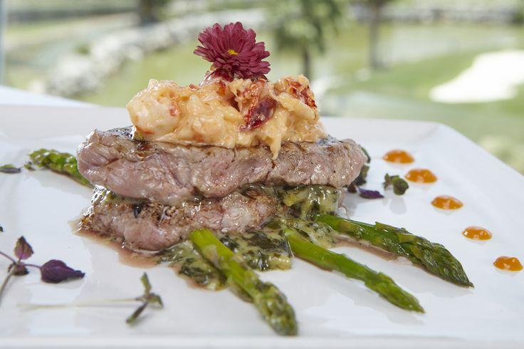 Veal Oscar - sirloin of veal, lobster, crab, fresh asparagus, braised swiss-chard spinach