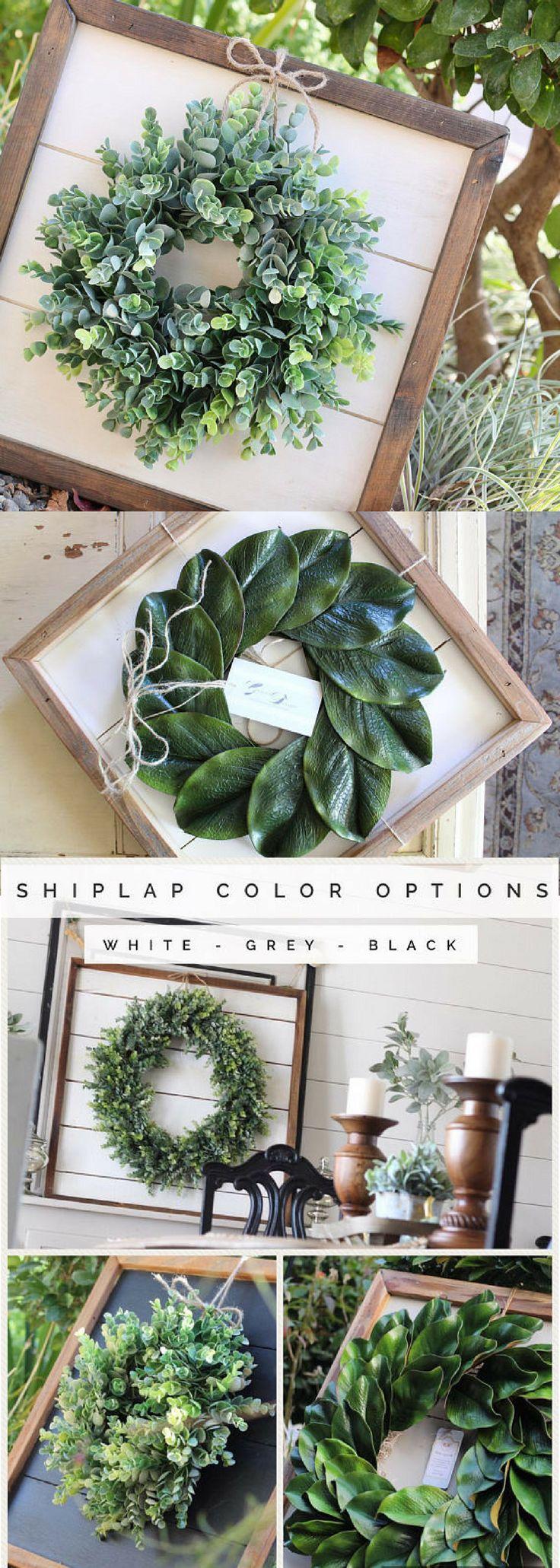 Shiplap Art & Mini Eucalyptus OR Magnolia Wreath - Small 15x15 - Reclaimed Wood - Handmade - Farmhouse - Home Decor - Custom Pieces - Spring - Living Room - Style - Kitchen - Modern - Joanna Gaines - Rustic - Country - Vintage - Ideas #ad