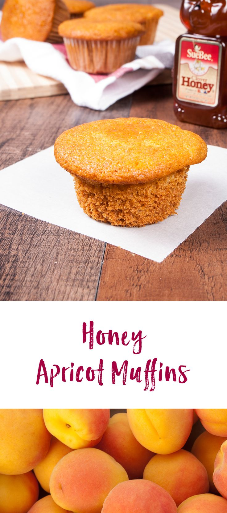 These Honey Apricot Muffins are the bee's knees! Sweetened with honey and dried apricots, these muffins are delicious, healthy and perfect for those mornings when you're on-the-go!