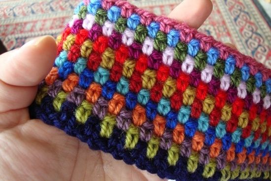Moss stitch - one double, one chain.