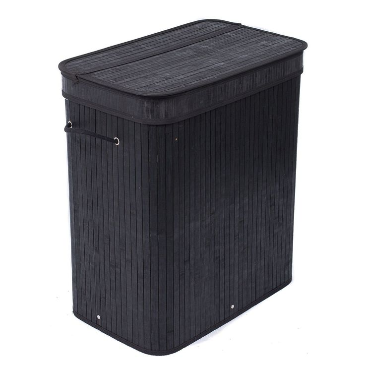 BirdRock Home Double Laundry Hamper with Lid and Cloth Liner (Bamboo Black Bamboo Black Divided Hamper) (Organic)