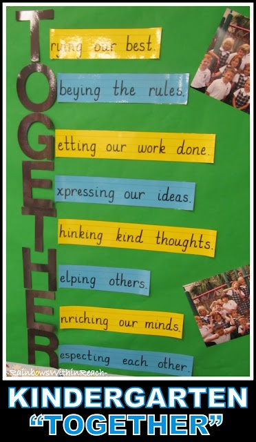 Kindergarten Acrostic for Good Behavior: TOGETHER (from blog article with 20 different classroom sets of 'rules' from PreK to early elem)