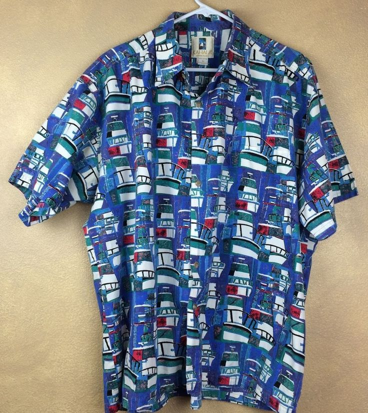 Vtg Kahala Yacht Boat Marina Cotton Hawaiian Shirt Size XL  #Kahala #Hawaiian