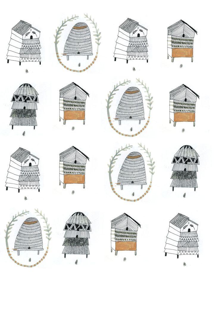 beehive patterns, Katt Frank, illustration, poster, design, drawing, pencil, nature, english, bee