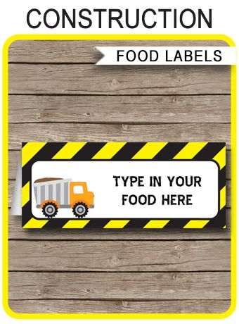 INSTANT DOWNLOAD ★ Construction Party Food Labels or Place Cards. Personalize the printable template at home with your own text. Download, edit & print now!