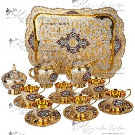 Сервиз чайный с позолотой и горячей эмалью! , арт №7073 - «Кубачинское серебро»