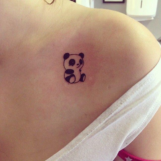 Cute Panda Tattoo On The Upperback | Fresh 2016 Tattoos Ideas