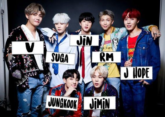 Bts Bangtan Boys Kpop Group Shoot With Names Wall Poster Glossy Paper 200 Gsm Size A1 A2 A3 A4 Art D Bts Name Bts Members Names Bts Members