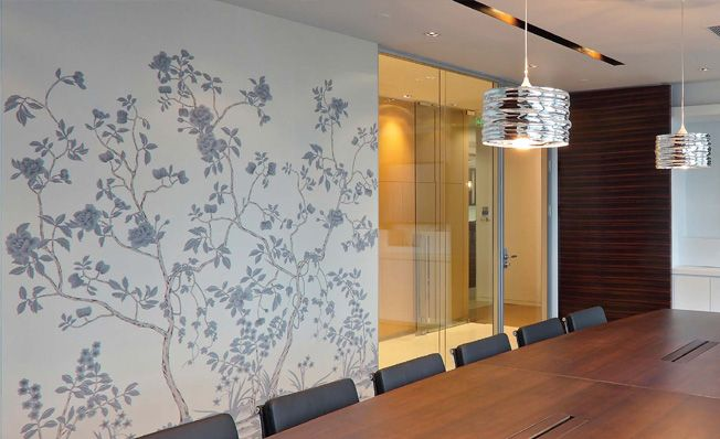 Modern chinoiserie 'Pumpkin Garden' by Misha wallpaper: Designer DLArchitecture featured hand painted wallpaper Pumpkin Garden on Pearl Grey silk in the client's office in Shaghai, China.