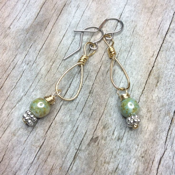 Earrings, Boho Chic Rustic Jewelry, Silver and Gold, Wire Wrap, Two Tone Jewelry by SimplyByMoonlight on Etsy