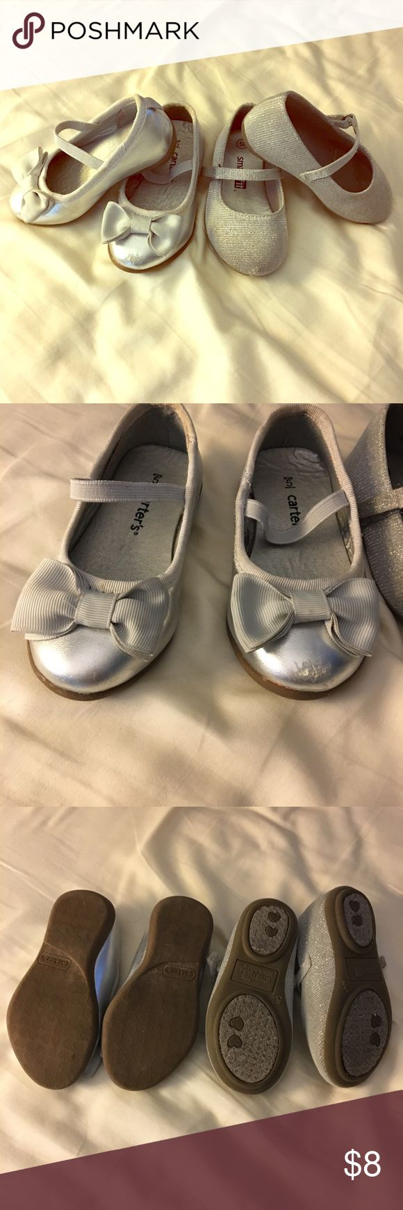 Toddler silver dress shoes Two pair of dress shoes. Silver with bow: Carters size 5. Silver glitter: Smart Fit size 5.5. Both have toe scuffs. Shoes Dress Shoes