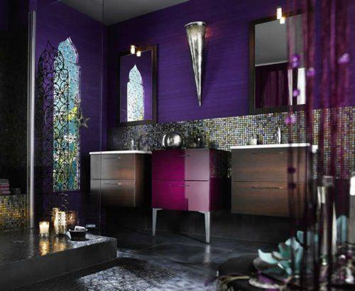 Lila Nuancen Badezimmer Orientalisch Motive Akzente Fliesenspiegel