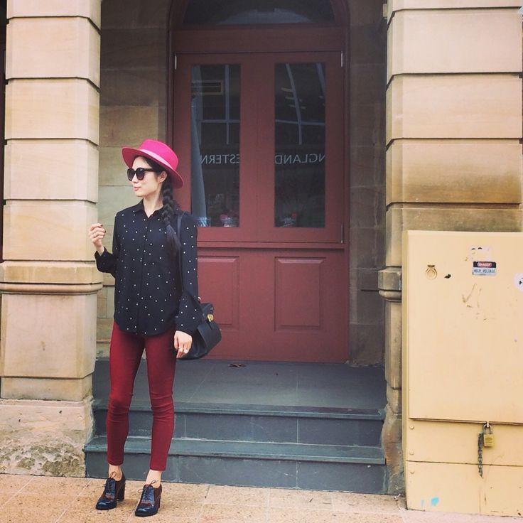 Polka dots top + burgundy legging + lace up Oxford