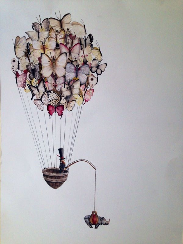 Butterfly balloon by Lili Piek Watercolour.