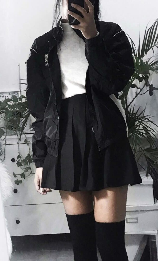 25 More Dark Grunge Looks To Check Out Tennis Skirt Outfit Fashion Edgy Outfits