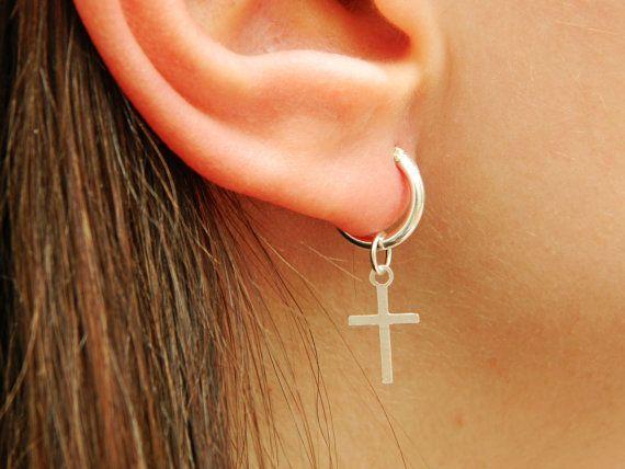 Cross Sterling Silver Hoop Earrings  Silver Hoop Earrings