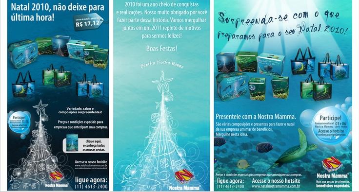 Peças desenvolvidas para a campanha Natal Nostra Mamma 2010, com enfoque no ecossistema marinho.