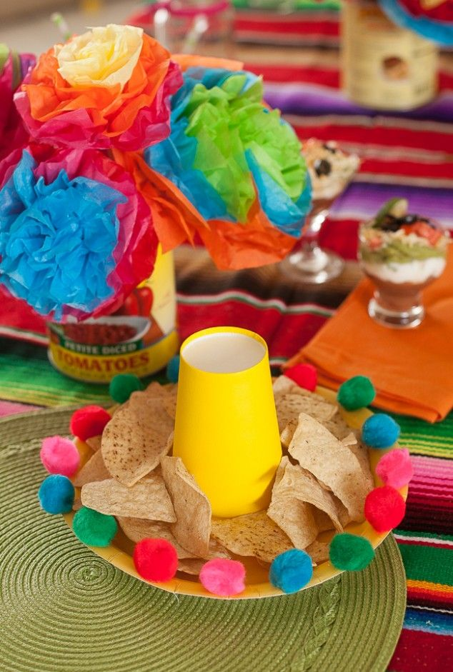 sombrero hats made from paper plates, cups and pom poms