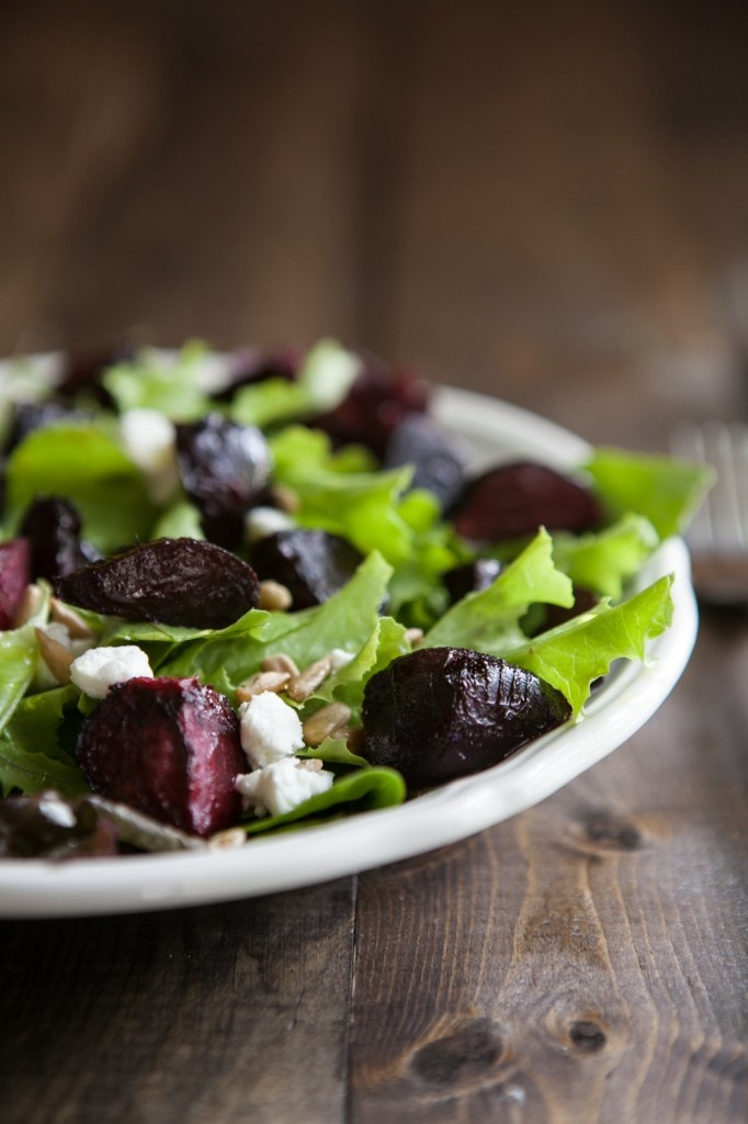 Maple Roasted Beet and Goat Cheese Salad via Naturally Ella