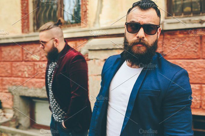Two stylish bearded men. People Photos. $5.00