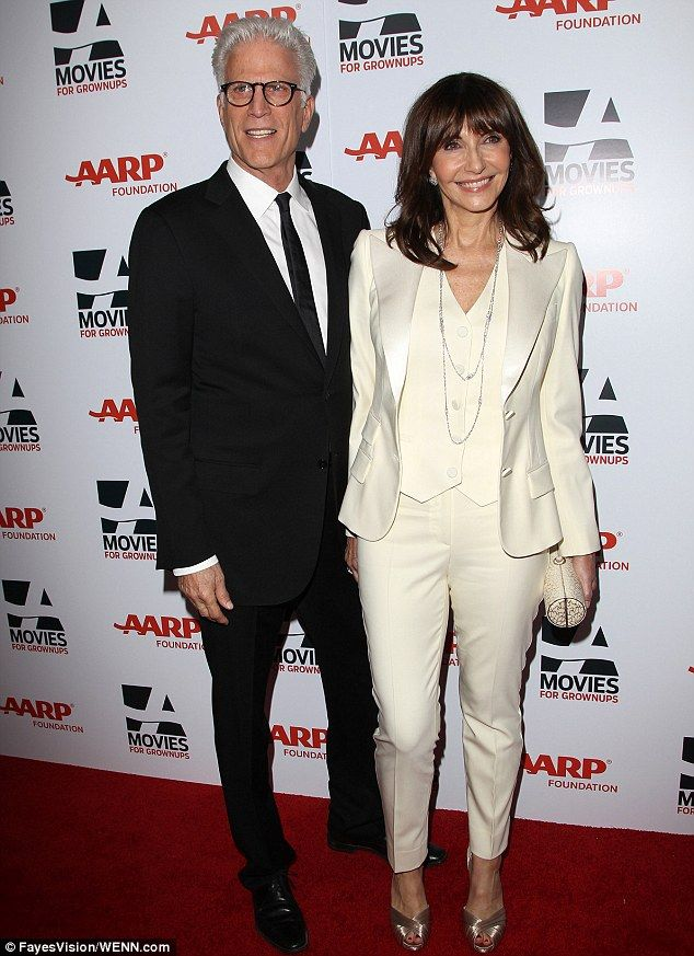 Ted Danson, 66, and his wife Mary Steenburgen, 61, suited up in black and cream, respectively
