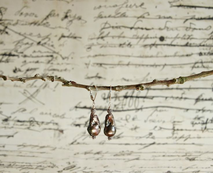 Dark baroque pears with sterling silver