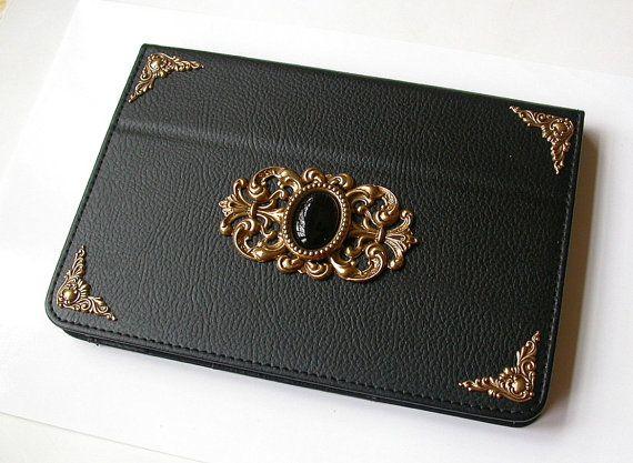 Mini iPad Leather Black Case    Magnetic Closure by LeBoudoirNoir