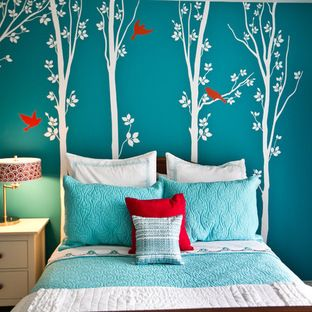 Red And Turquoise Bedroom Design Ideas, Pictures, Remodel, and Decor