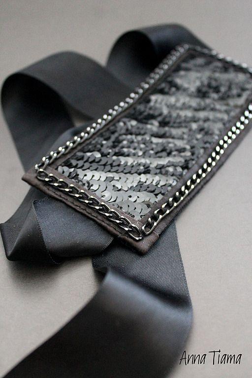 """Браслеты ручной работы. Ярмарка Мастеров - ручная работа. Купить Браслет """"Black Shine"""". Handmade. Чёрный, текстильный браслет"""