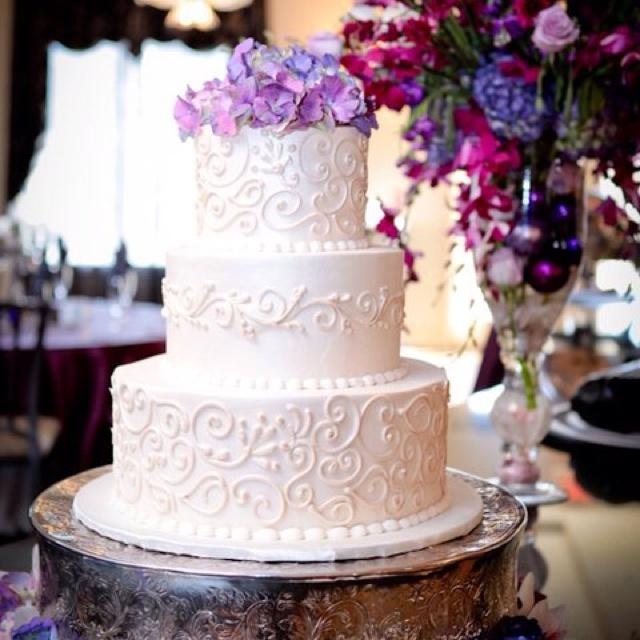 Wedding Cake - purple scrolling, bling ribbon, purple ...