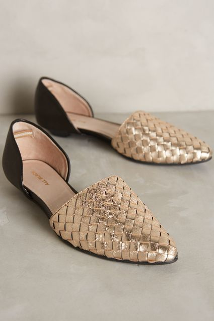golden braided d'orsay flats