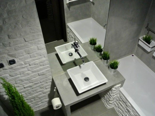 Designed by imindesign.  See all photos on http://www.imindesign.pl/lazienka_w_wersji_surowej/